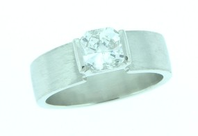 engagement ring with square radiant cut diamond