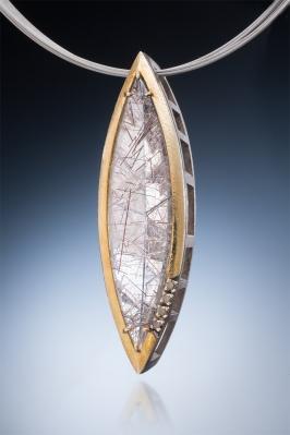 custom rutilated quartz pendant with chocolate diamonds