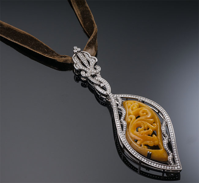 Bochic Carved Jade and Diamond Pendant