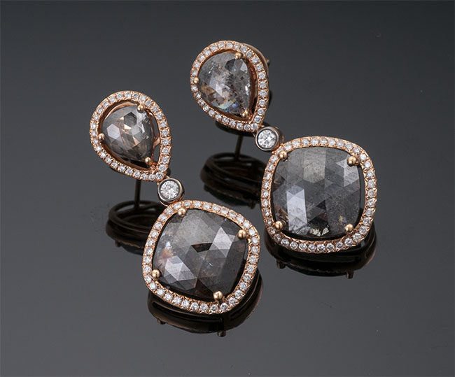 Bochic Rose Gold and Diamond Earrings