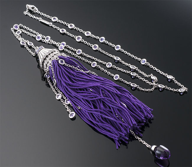 Boucheron Gold, Diamond and Purple Gemstone Figurine Tassel Necklace