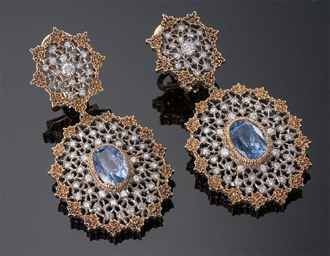 Buccellati Oval Sapphire and Diamond Earrings
