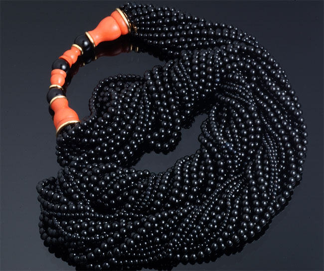 Cartier Coral & Onyx Multi-Strand Bead Necklace