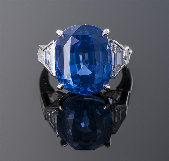 Cushion Cut Ceylon No Heat Sapphire Ring