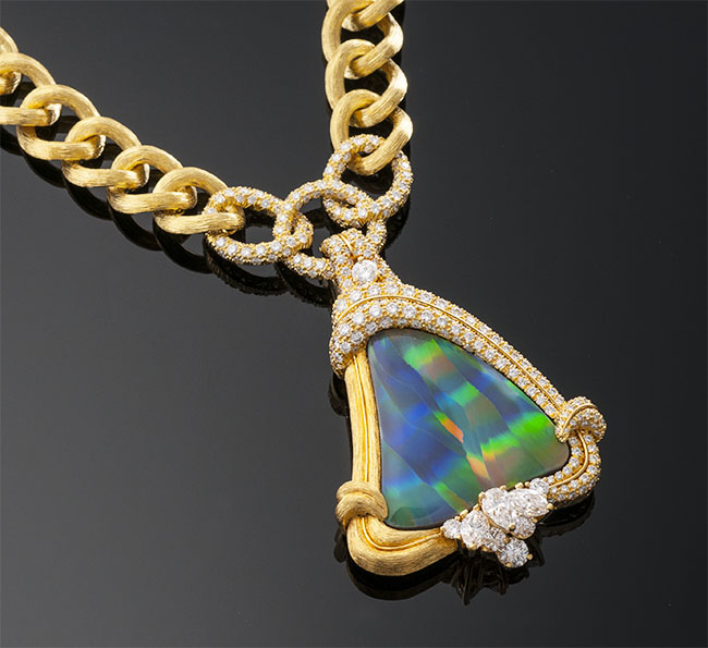 Dunay Black Opal & Diamond Necklace