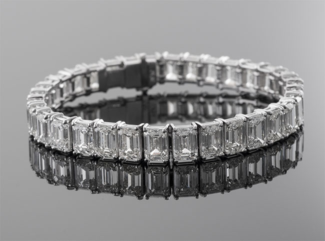 emerald cut diamond bracelet, tennis bracelet