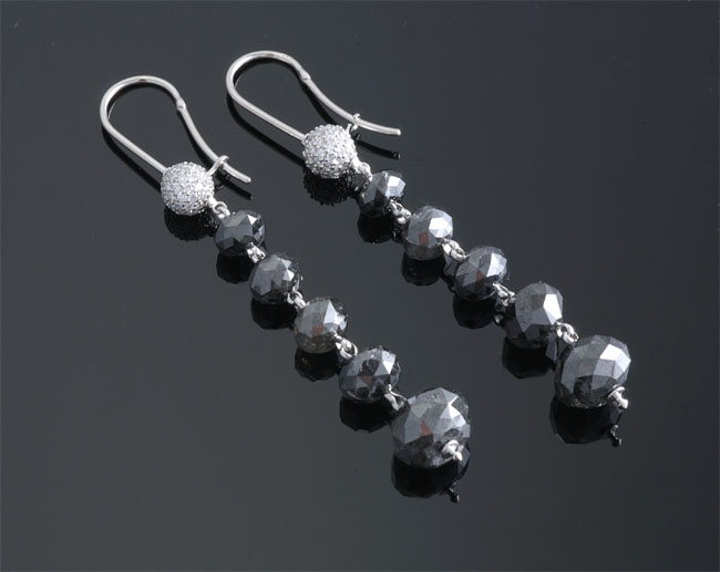 Faceted black diamond earrings