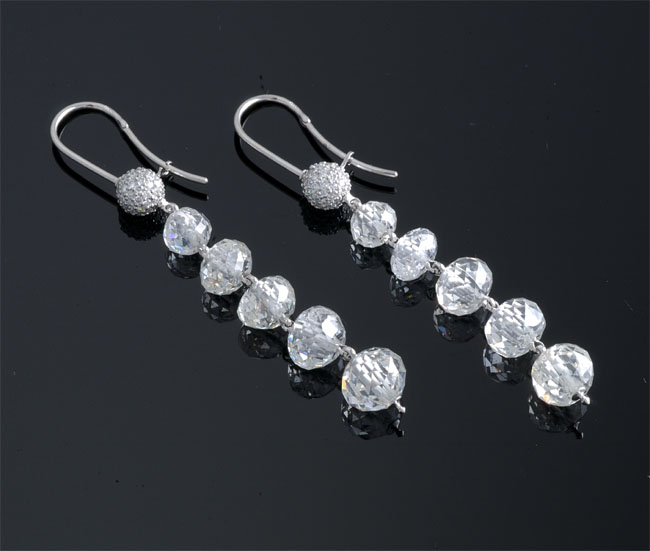 faceted diamond bead earrings
