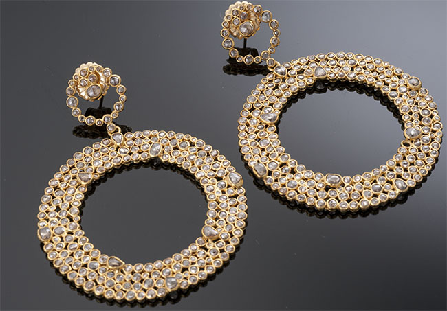 Gold and Rose Cut Diamond Hoop Earrings