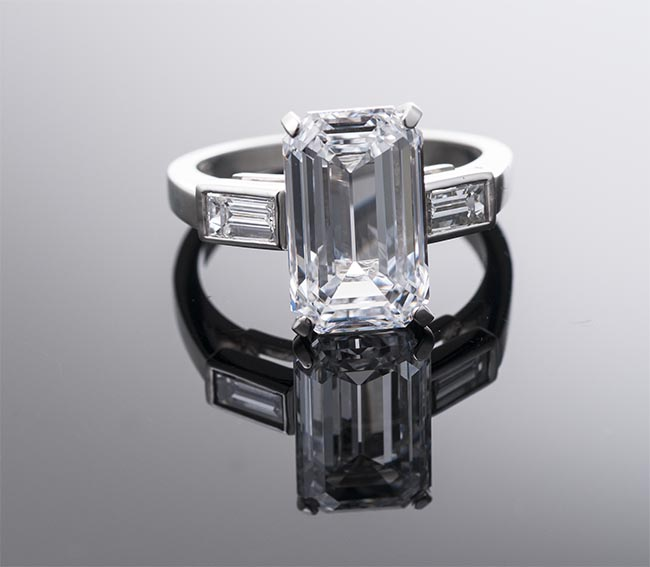Harry Winston emerald cut diamond engagement ring