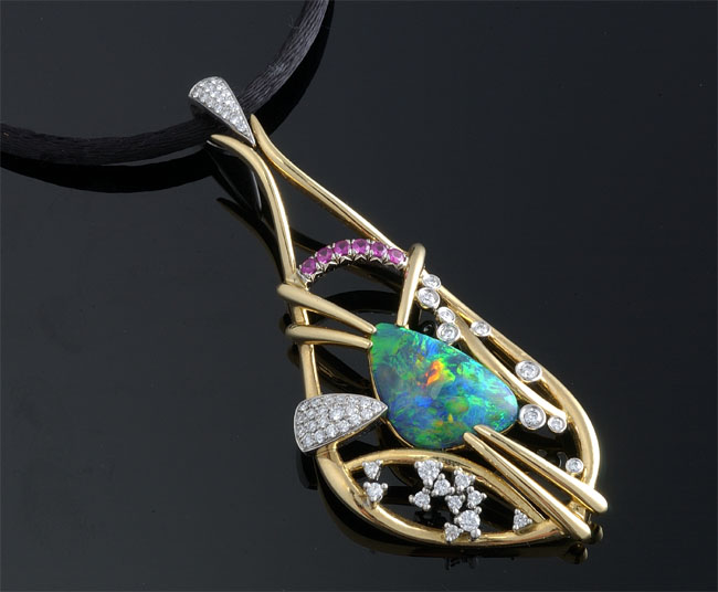 Krementz opal and diamond pendant