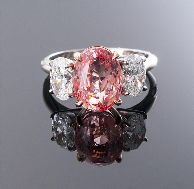 Oval No Heat Padparadscha Sapphire Ring