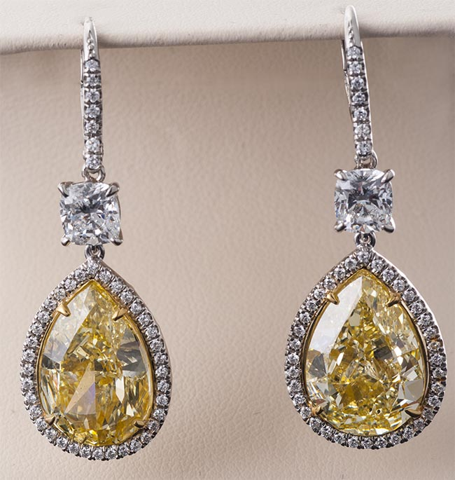 Pear Shape Fancy Yellow Diamond Drop Earrings