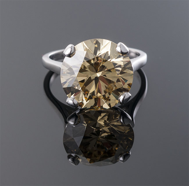 Round Brilliant Cut Fancy Dark Brown-Yellow Diamond Ring