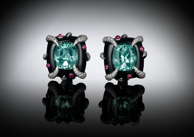 Tiffany & Co. Tourmaline and Black Onyx and Diamond Earrings